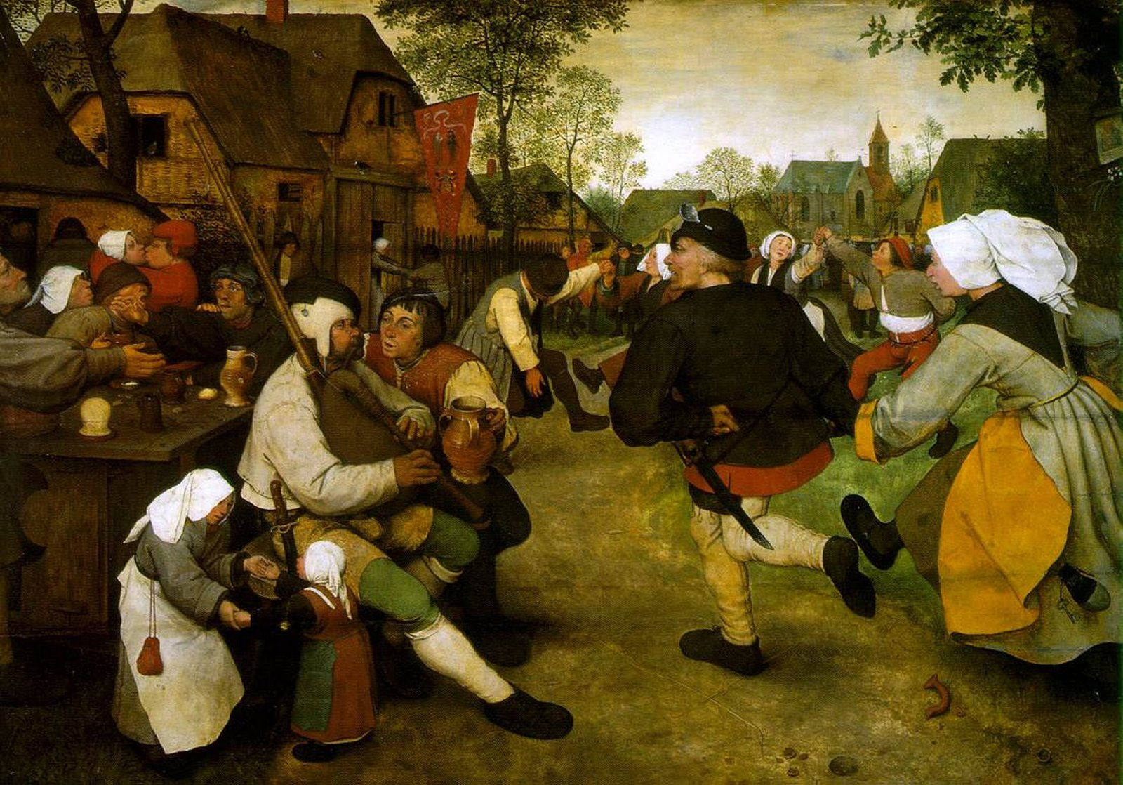 The Peasant Dance.  Pieter Bruegel the Elder.  1567. Oil on oak panel. 114 x 164 cm. Kunsthistorisches Museum. Vienna.