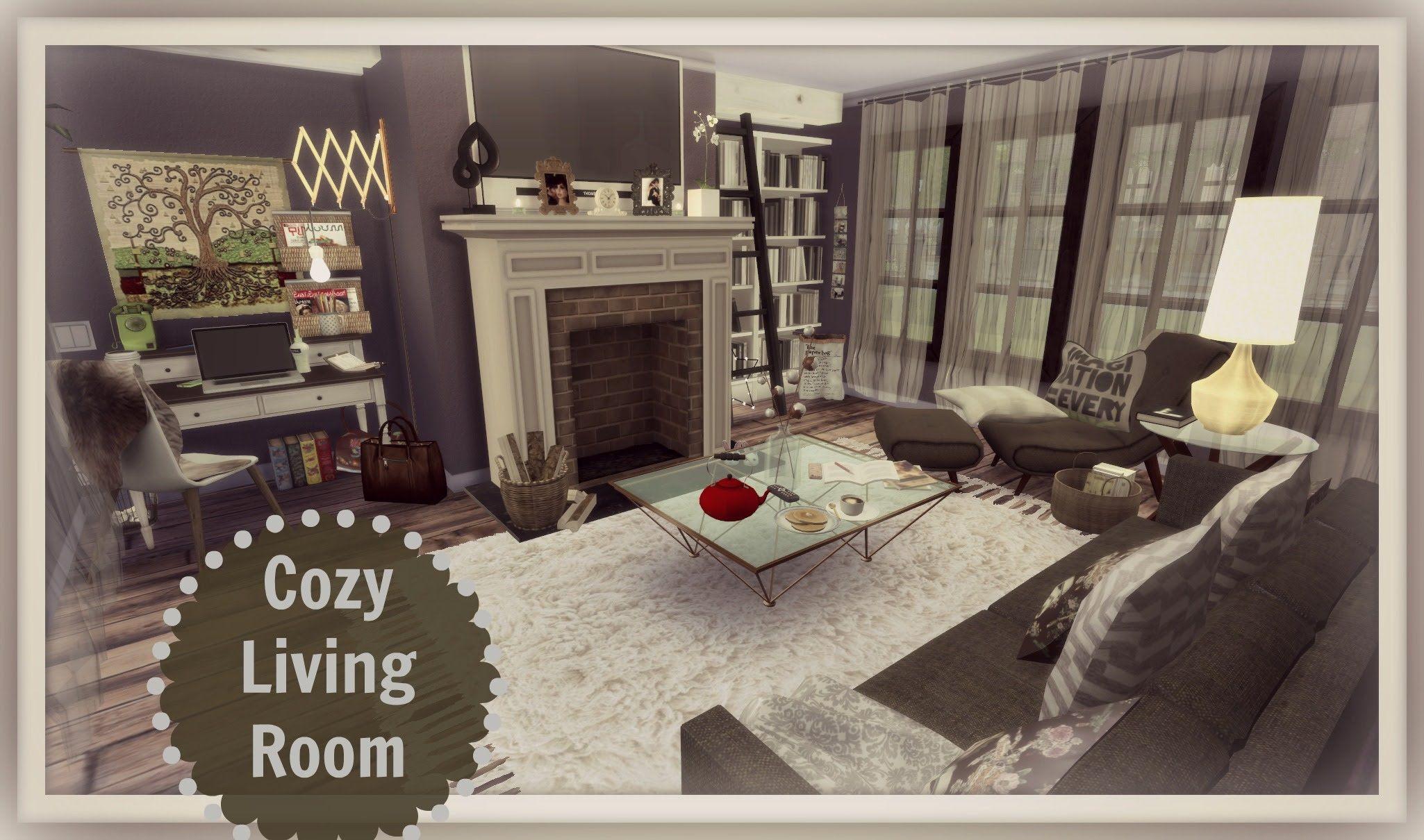 Sims 4 Cozy living room Sims4Hood Pinterest