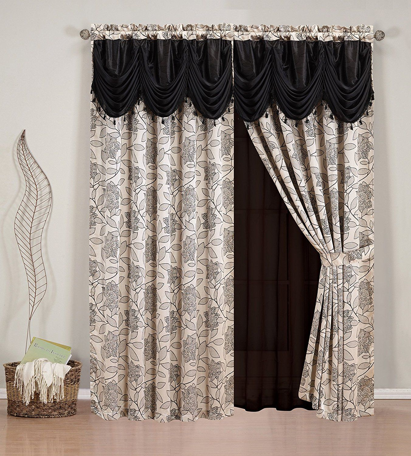 Elegant Home Beautiful Black Beige Window Embroidery Curtain Drapes All In One Set With Attached Valance And Sheer Backing For Living Room Bedroom
