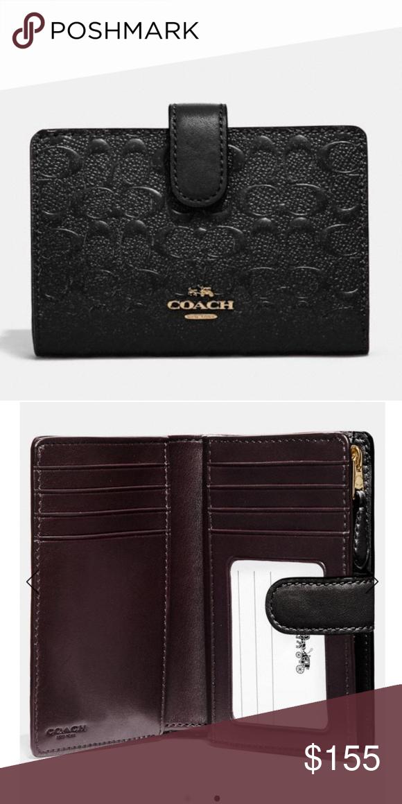NWT COACH Signature Zip Phone Credit Card Slim Wallet Black