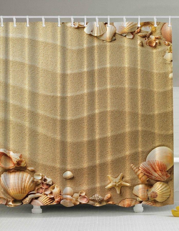 Beach Sand And Sea Shells Shower Curtain Fabric Shower Curtains