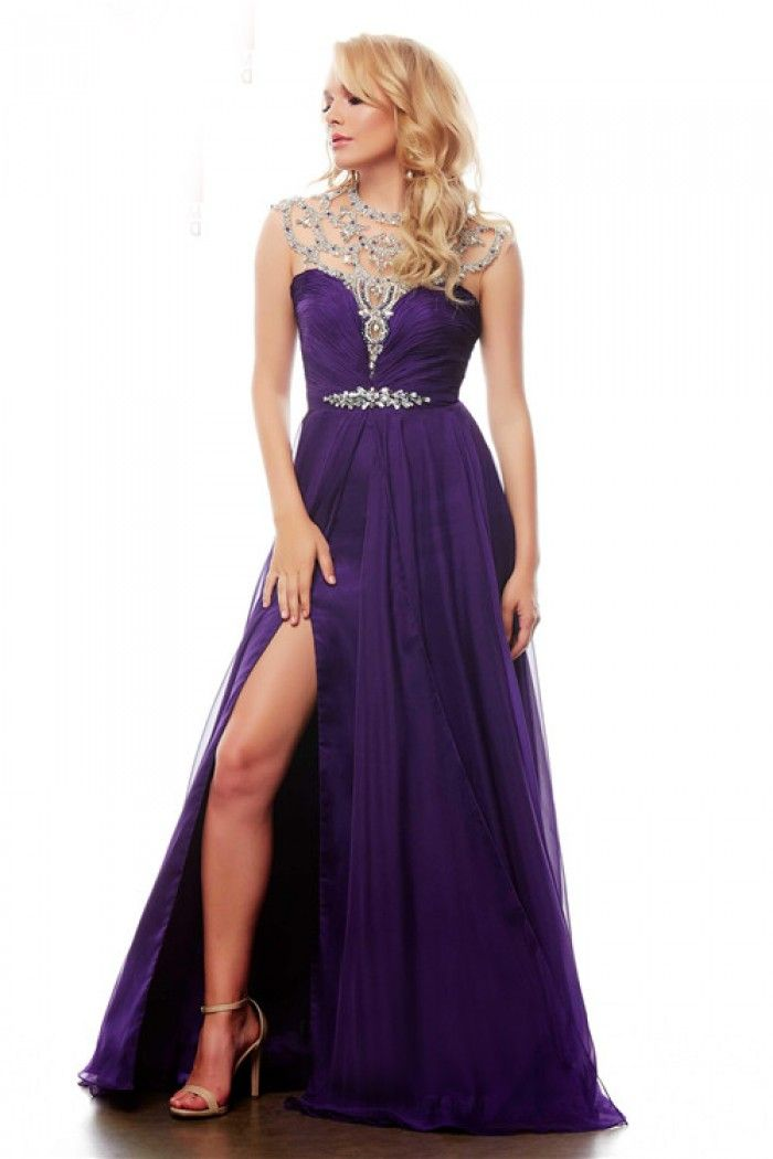 High Neck Cut Out Open Back Long Purple Chiffon Beaded Prom Dress With Slit
