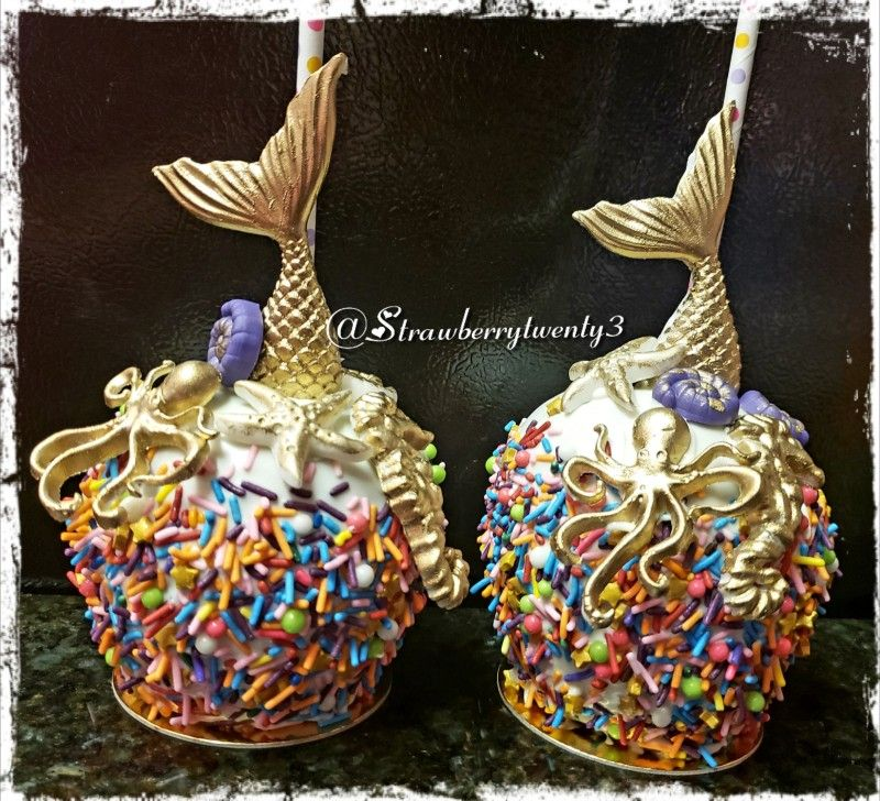 Mermaid themed caramel and white chocolate covered apples