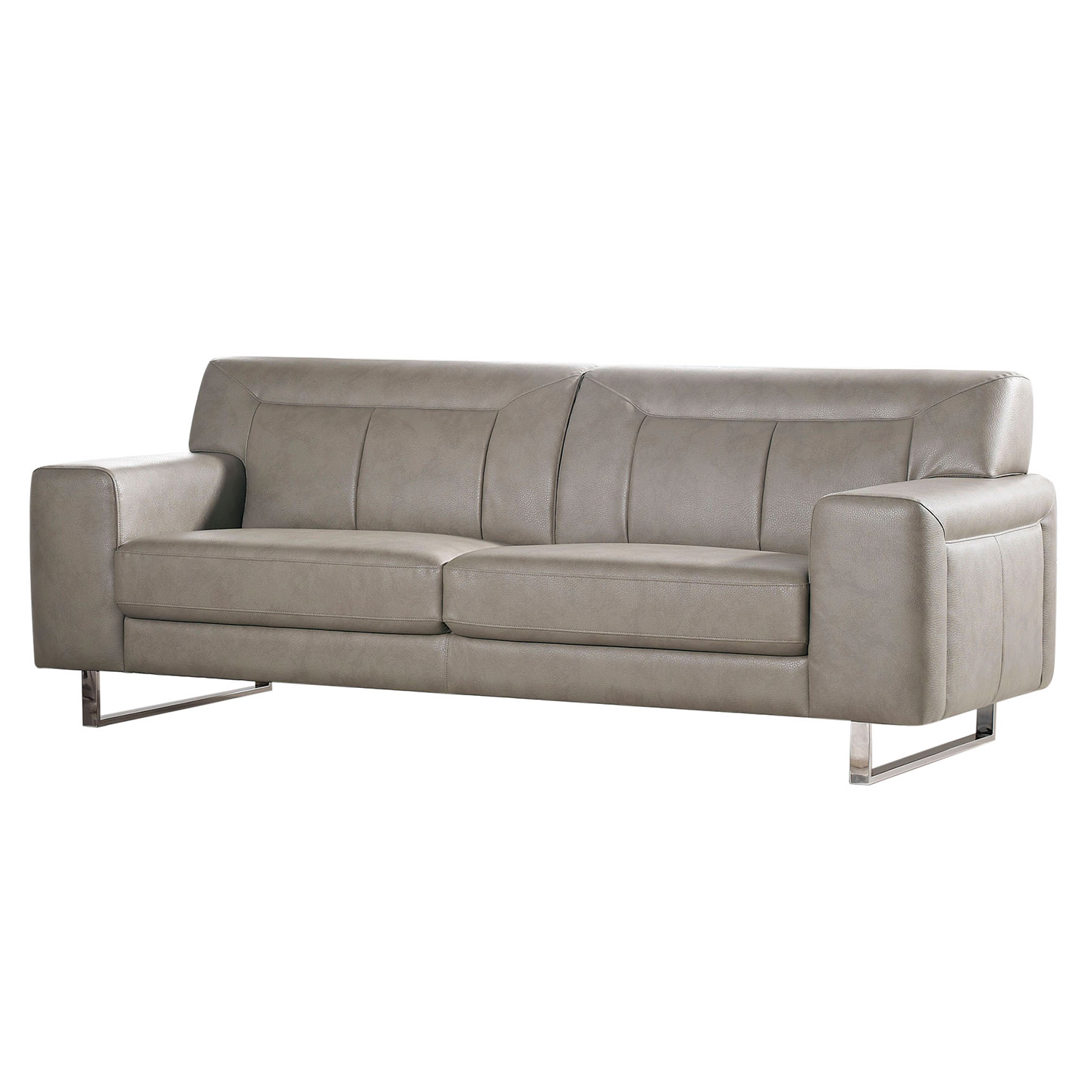Vera Leatherette Sofa W Metal Leg In Sandstone Leatherette By