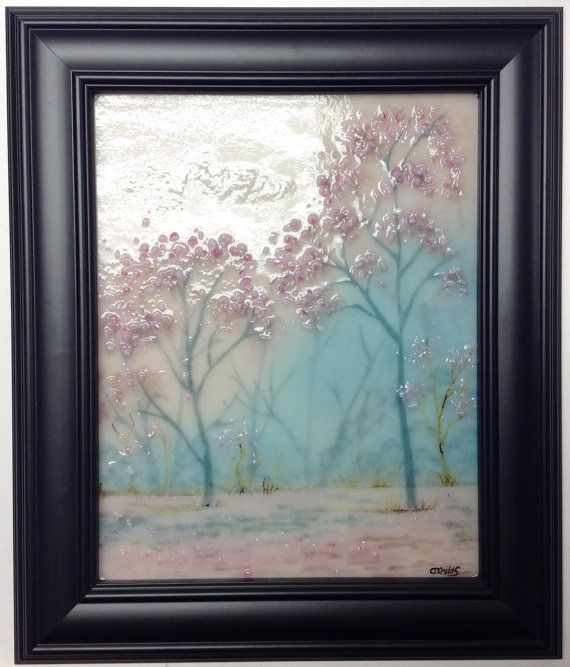 Fused Glass Painting Cherry Blossoms by CDChilds on Etsy