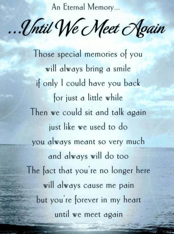 Until We Meet Again Grief Miss You Missing You Quotes Love Awesome Quotes On Loss Of A Loved One