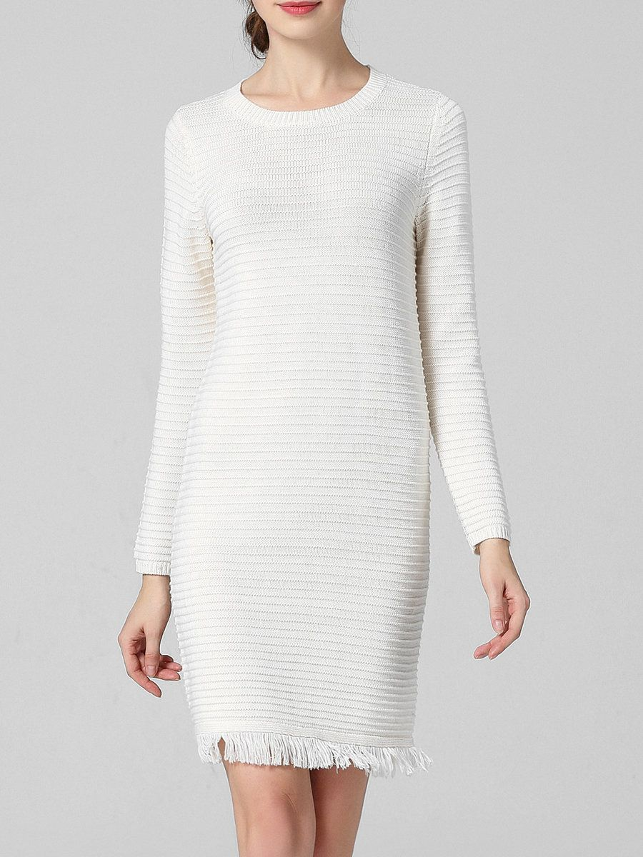 Cashmere long sleeve crew neck plain simple sweater dress adorewe
