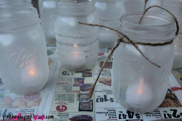 DIY Mason Jar Hanging Lanterns via pinkheelspinktruck.com