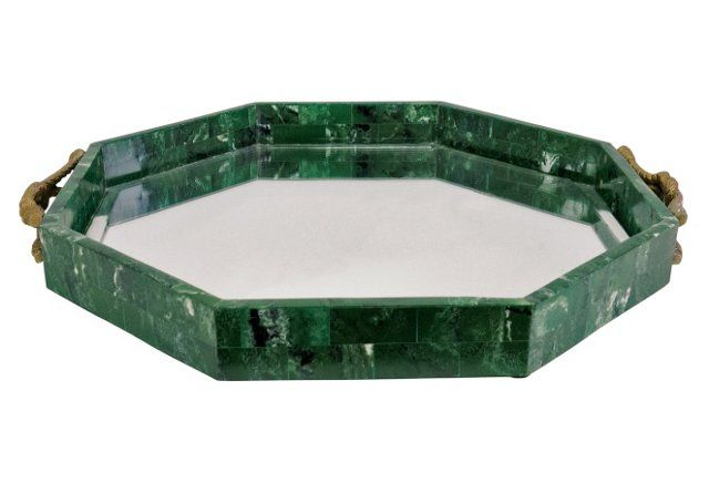 "20"" Malachite-Style Mirrored Tray  Kate Marker, Effortlessly Chic for OKL"
