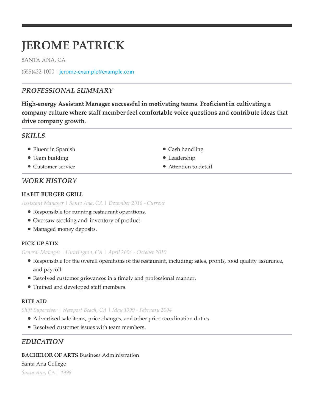 Take A Look At This Restaurant Server Resume Example