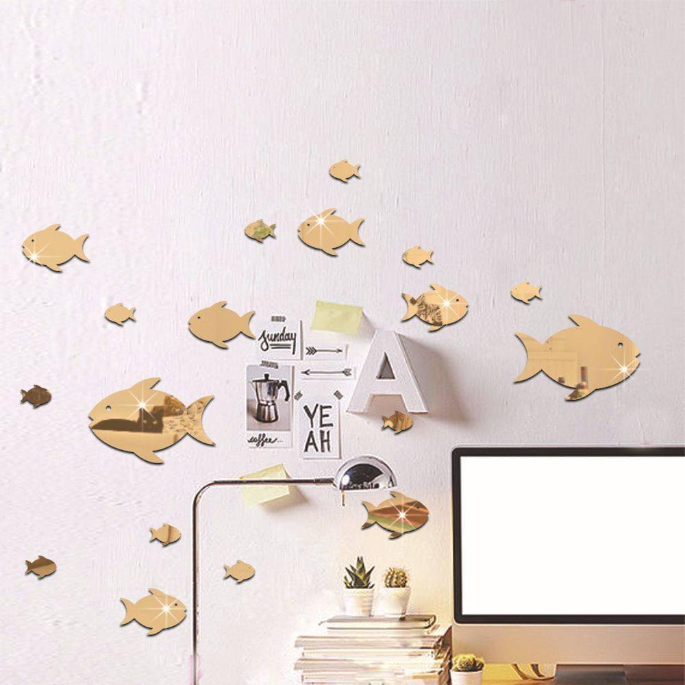 Bubble Fish 3d Wallpaper Ocean Fish Mirror Acrylic Wall Stic