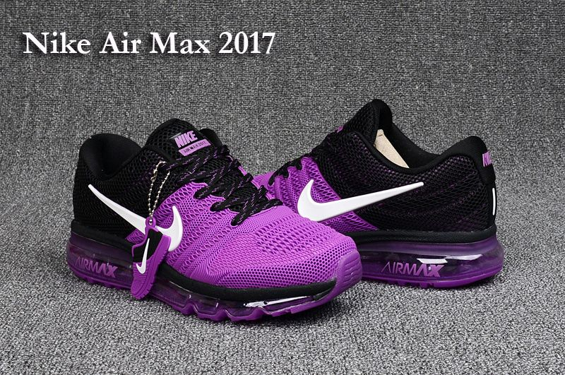 san francisco 08671 e79ed Nike Air Max 2017 Leather Purpel Black Women Shoes