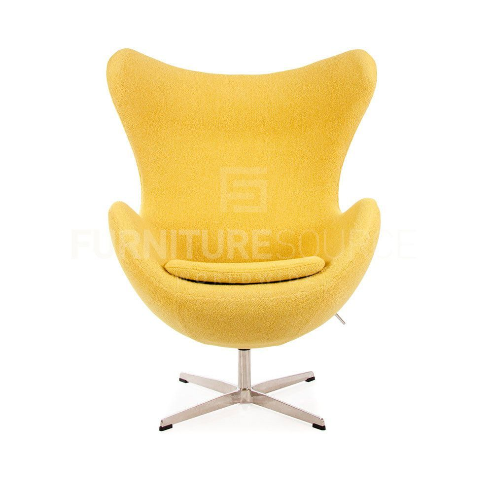 Arne Jacobsen Style Egg Chair   Soft Wool Yellow Fabric