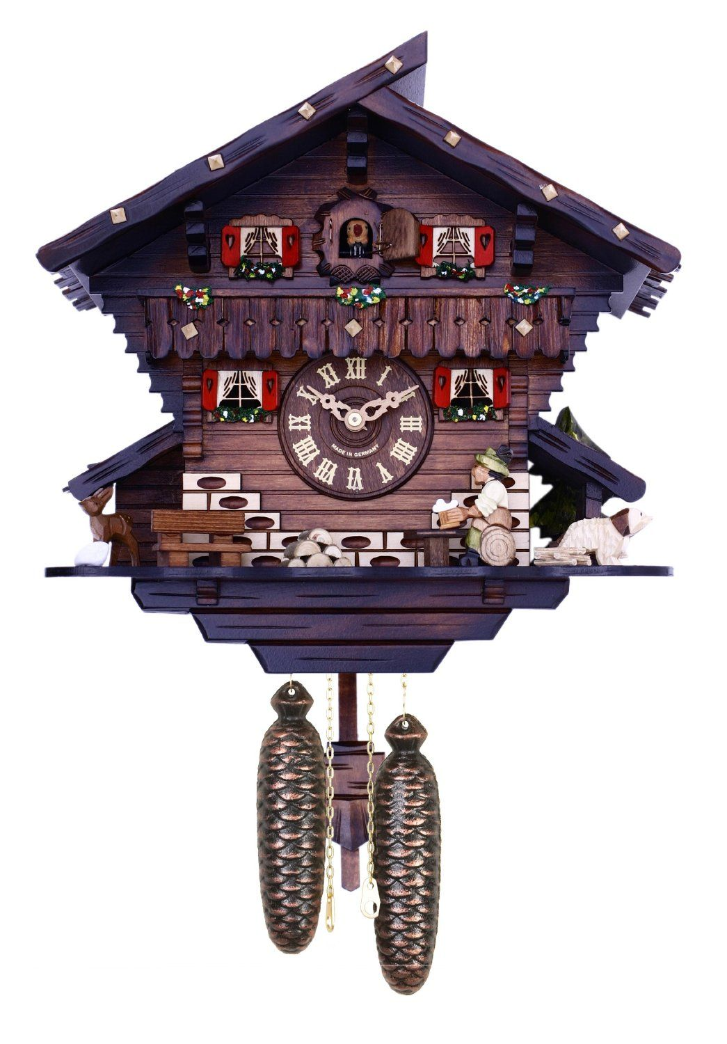 Amazon Com River City Clocks Eight Day Chalet Cuckoo Clock With Carved Deer Dog And Beer Drinker Drinking Beer 12 Inch Tall Furn Cuckoo Clock Clock Cuckoo