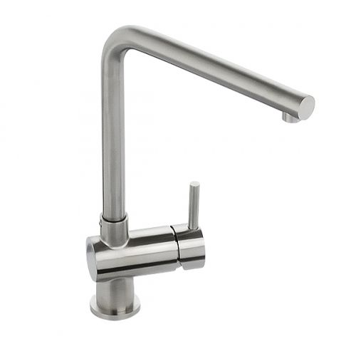 Abode Quala Single Lever Kitchen Sink Mixer Tap Stainless Steel ...