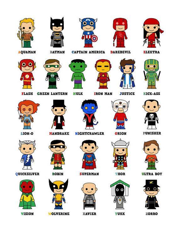 Cute superhero alphabet poster superhero 39 s abode - Poster super heros ...