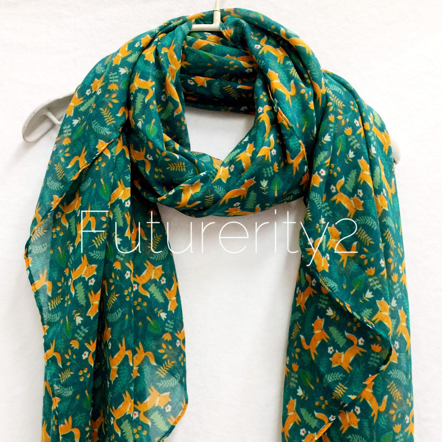 Woodland Fox Green scarf / Spring Summer Scarf / Autumn Scarf / Gifts For Her / Women Scarves / Handmade / Accessories / Christmas Gift by Futurerity2 on Etsy https://www.etsy.com/ie/listing/472705422/woodland-fox-green-scarf-spring-summer