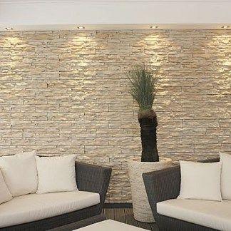 Living con revestimiento de piedra en color blanco ideas - Imitacion a piedra para paredes ...