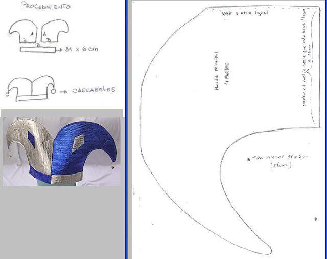 Moldes para hacer gorro de arlequin - Imagui Sombrero De Bufón b247d26bd1ef
