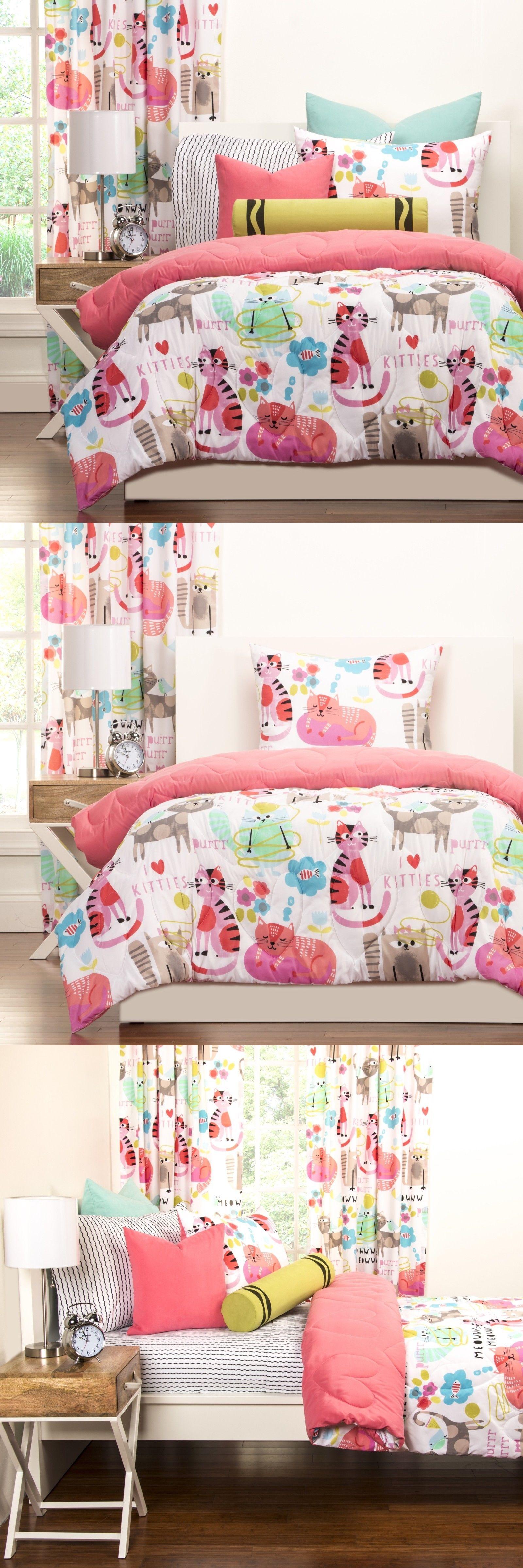 Canopies And Netting 176986 Kitten Cat Pink Brushed Microfiber 3pc Comforter Sham Girls Set Pink Full Queen Comforters And Sets Comforter Sets Pink Brushes
