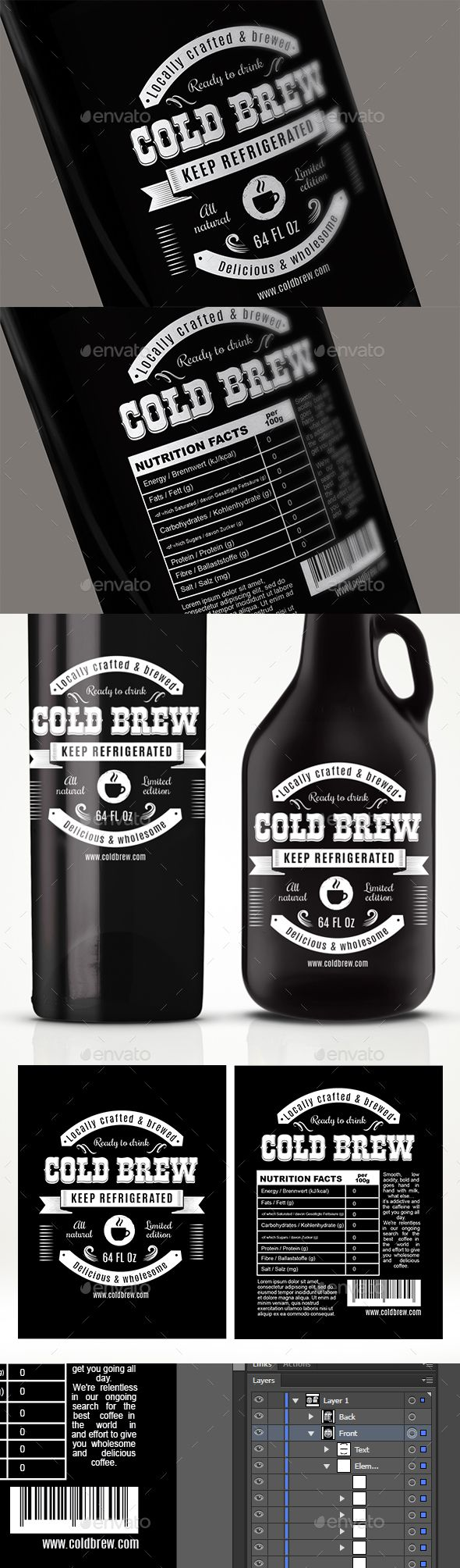 Cold Brew Label — PSD Template #modern #fresh • Download ➝ https ...