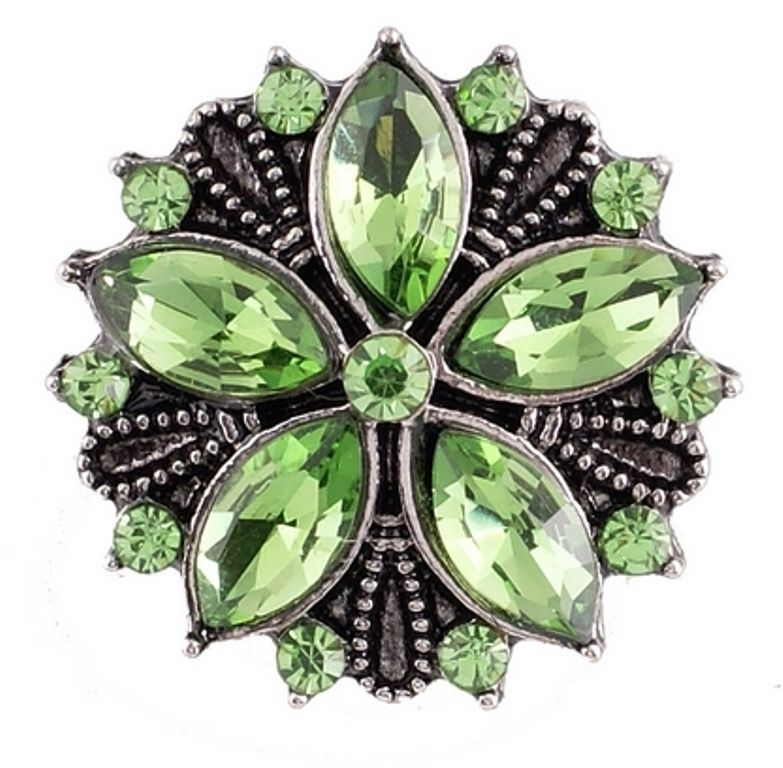 Silver Green Rhinestone Flower 20mm Snap Charm For Ginger Snaps Magnolia Vine