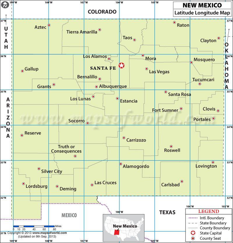 New Mexico Latitude And Longitude Map New Mexico History - New mexico county seat map