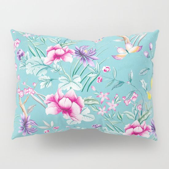 Pastel Teal Vintage Roses and Butterflies Pattern Pillow Sham by originalaufnahme