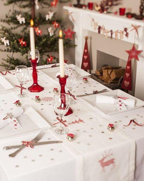 Resultado de imagen de mesa navidad nordica rojo