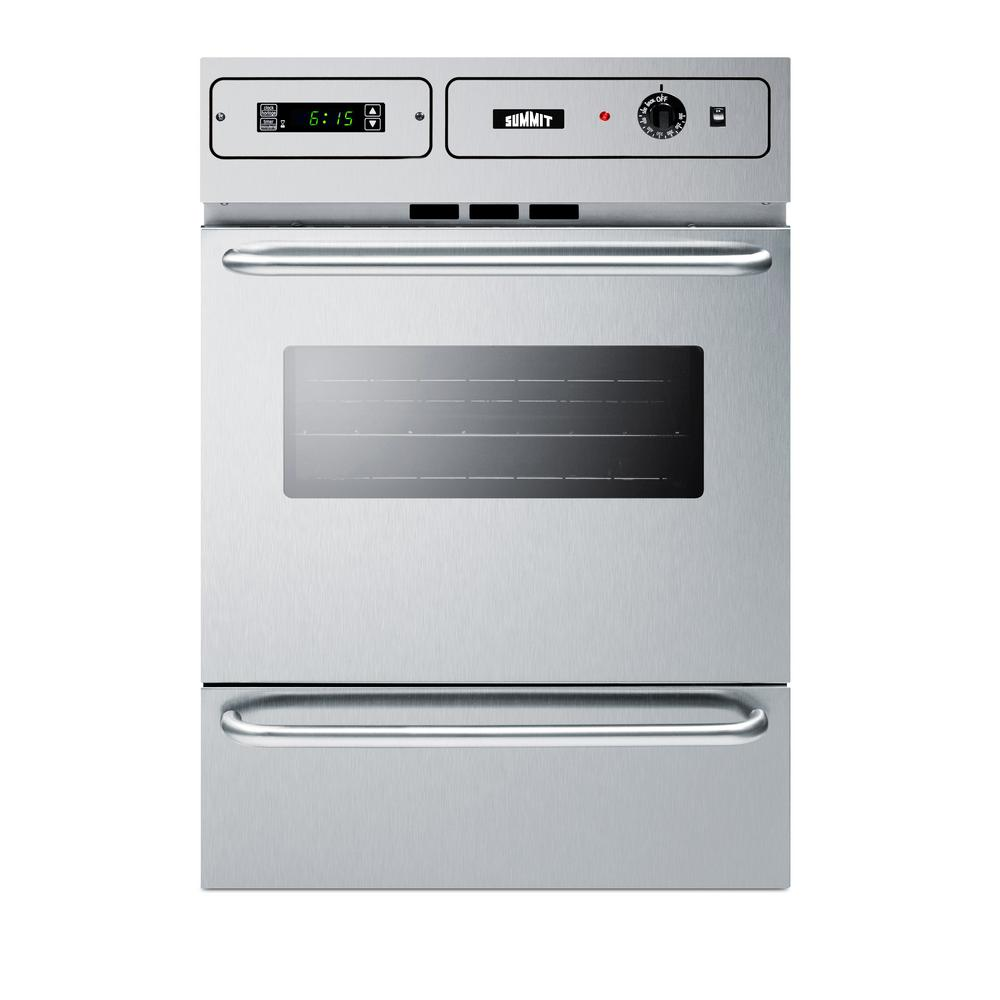 Summit 24 In Single Gas Wall Oven In Stainless Steel Silver