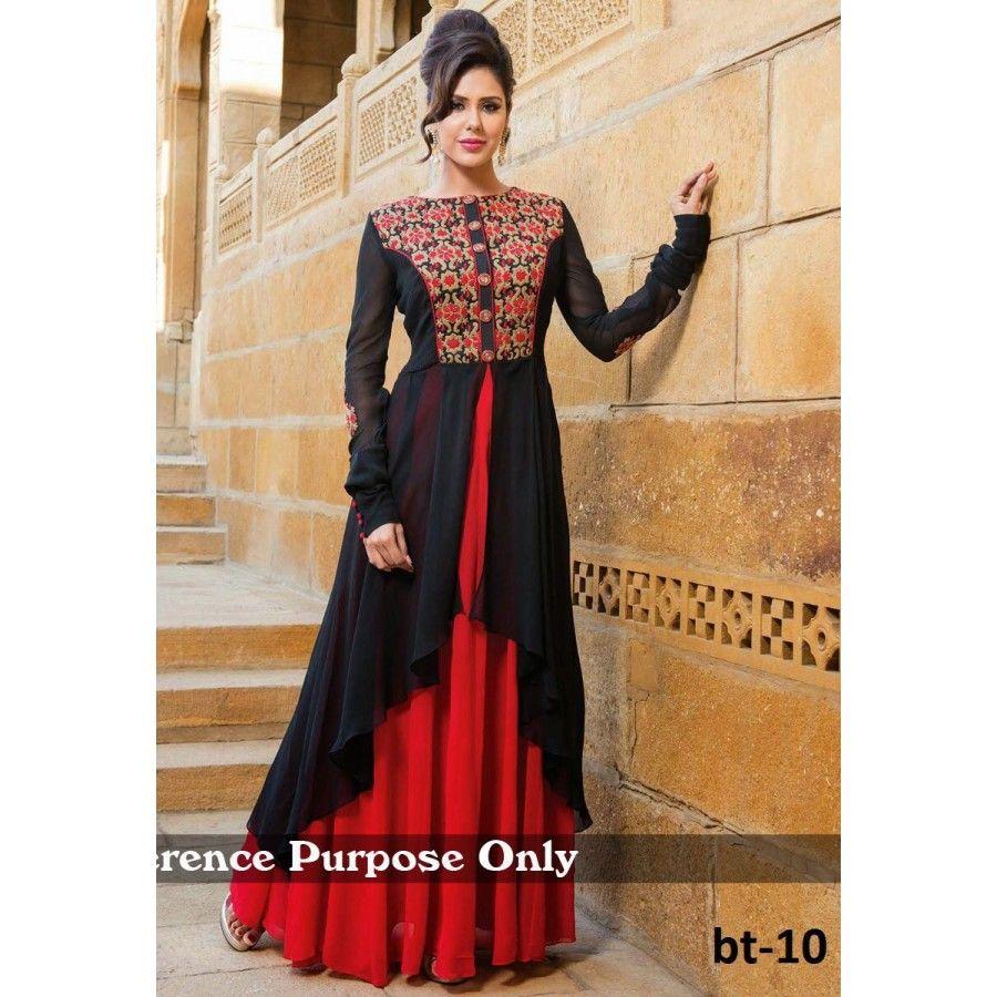 Designer black and red georgette gown type salwar suit - Buy ...