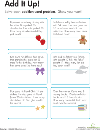 Addition Word Problems Add It Up Math Activities Pinterest
