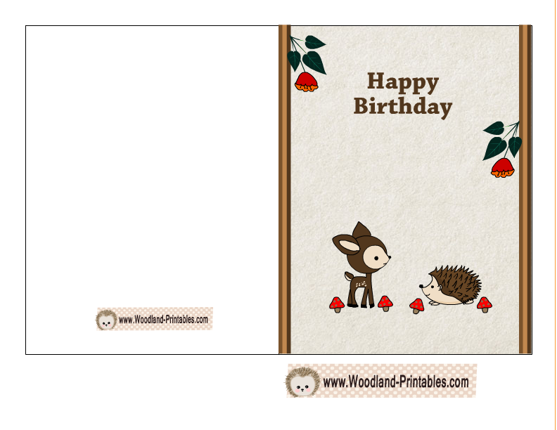 Free printable birthday card featuring hedgehog and deer free free printable birthday card featuring hedgehog and deer bookmarktalkfo Images