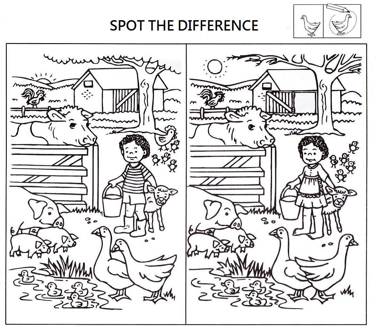 Find the Difference - Home Activity Village Spot the difference pictures printable black and white
