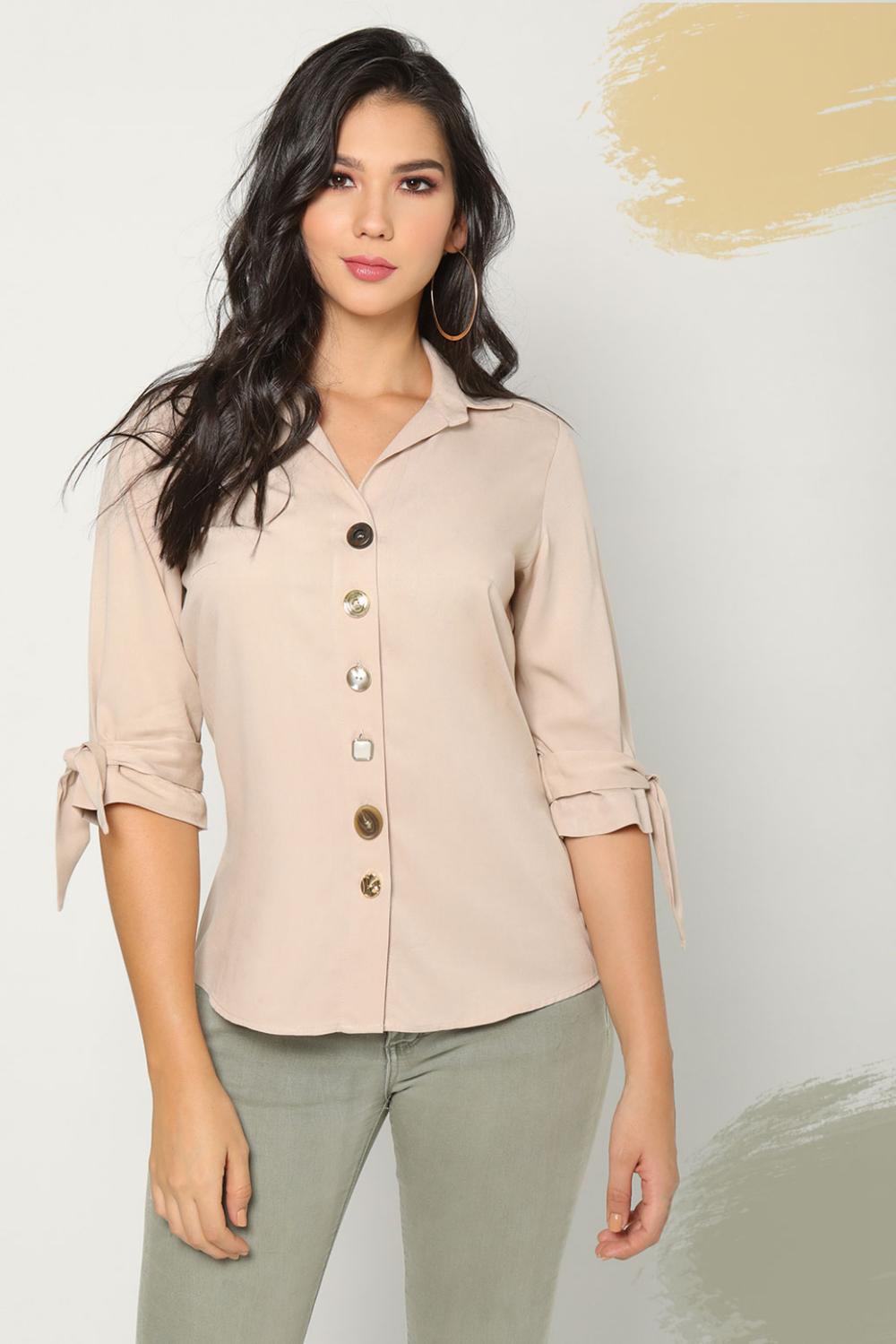 Camisa 3 4 Botones Colors Ropa Para Mujer Ropa Tiendas De Ropa Ropa Femenina