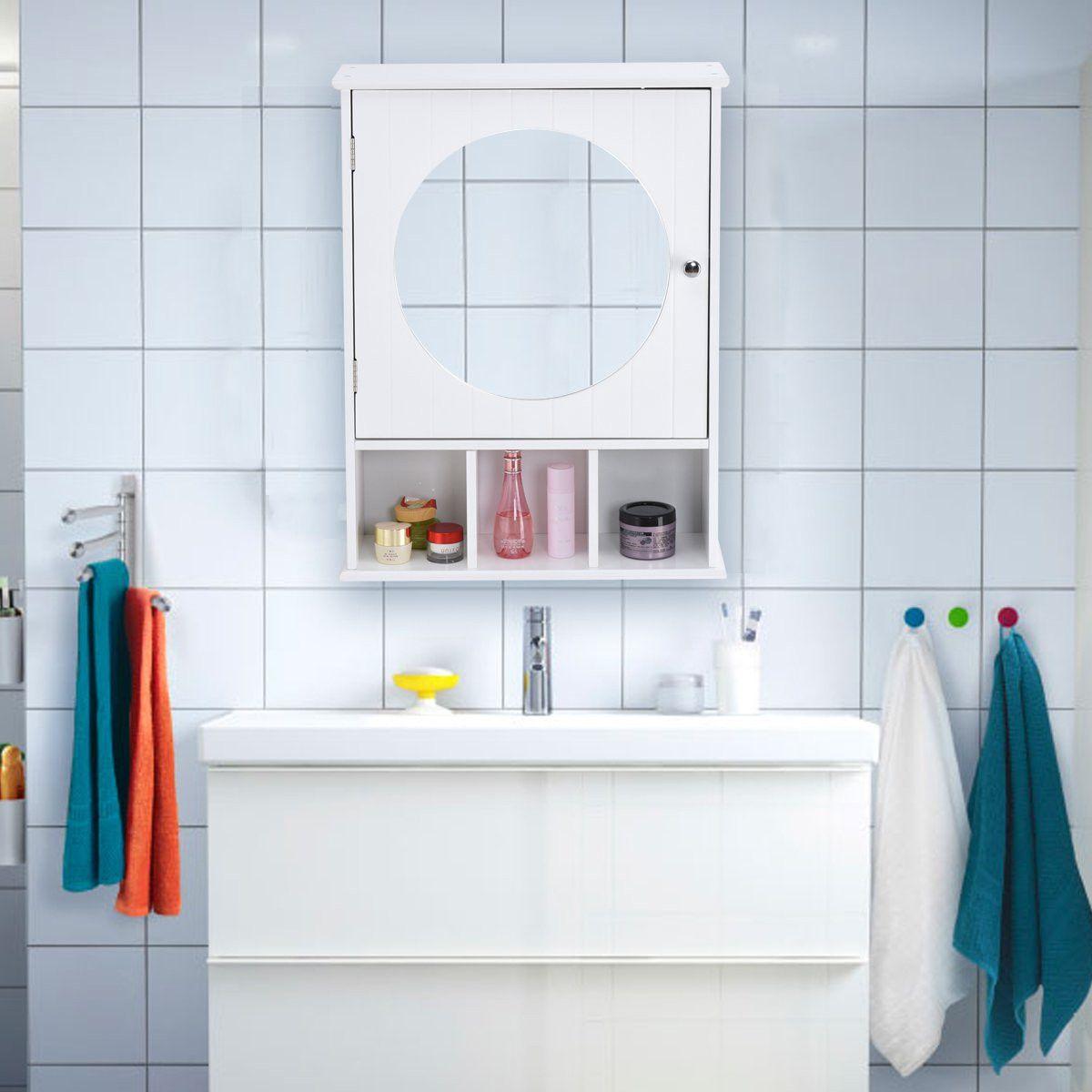 Giantex Adjustable Wall Mounted Round Mirror W Storage Organizer Cabinet Bathroom Furniture Modern Wall Storage Wood Bathroom Cabinets [ 1200 x 1200 Pixel ]