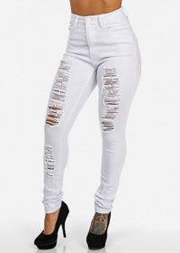 White High Waisted Ripped Skinny Jeans. Price: $34.99 ...