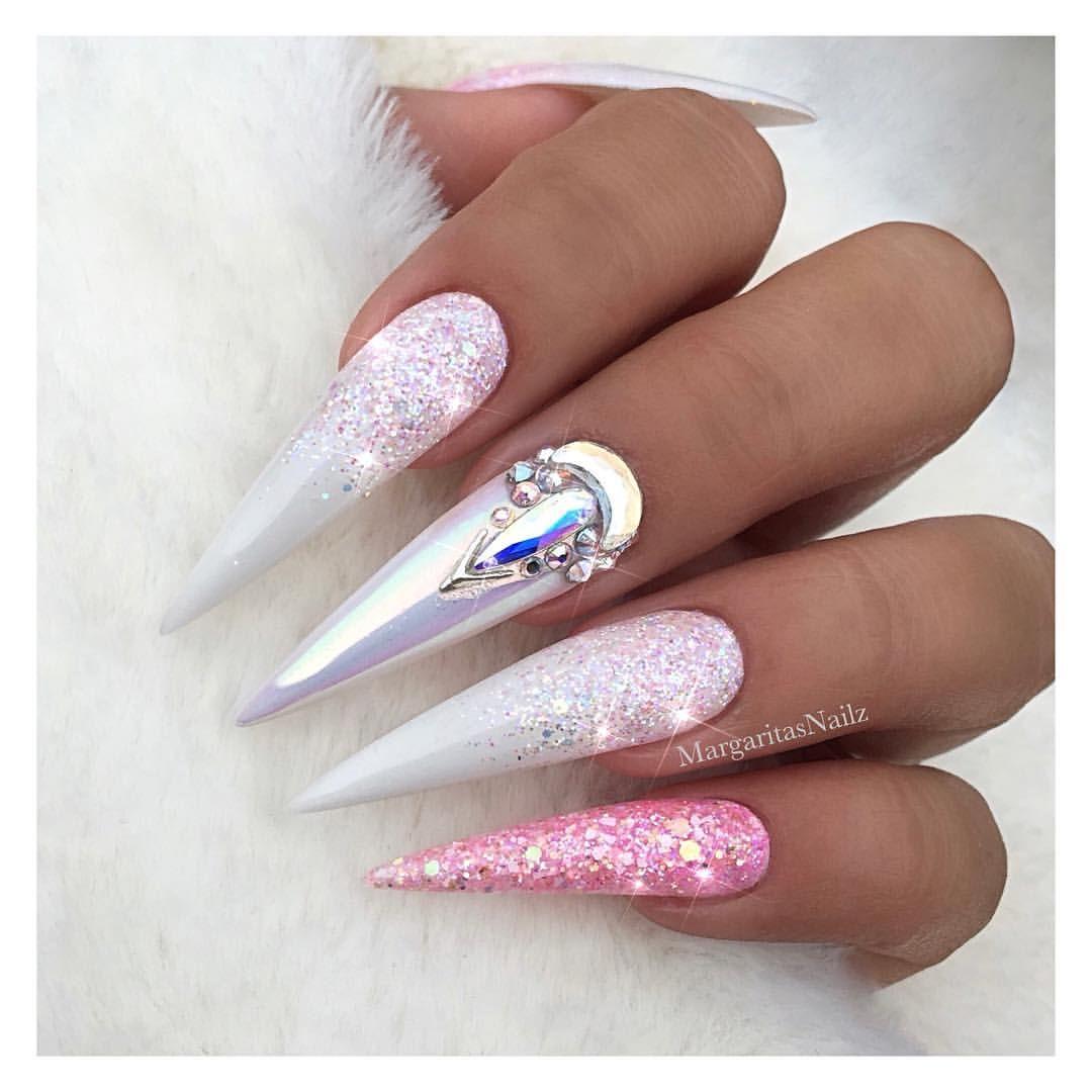 Pink glitter stiletto nails Unicorn chrome white ombré nail art ...