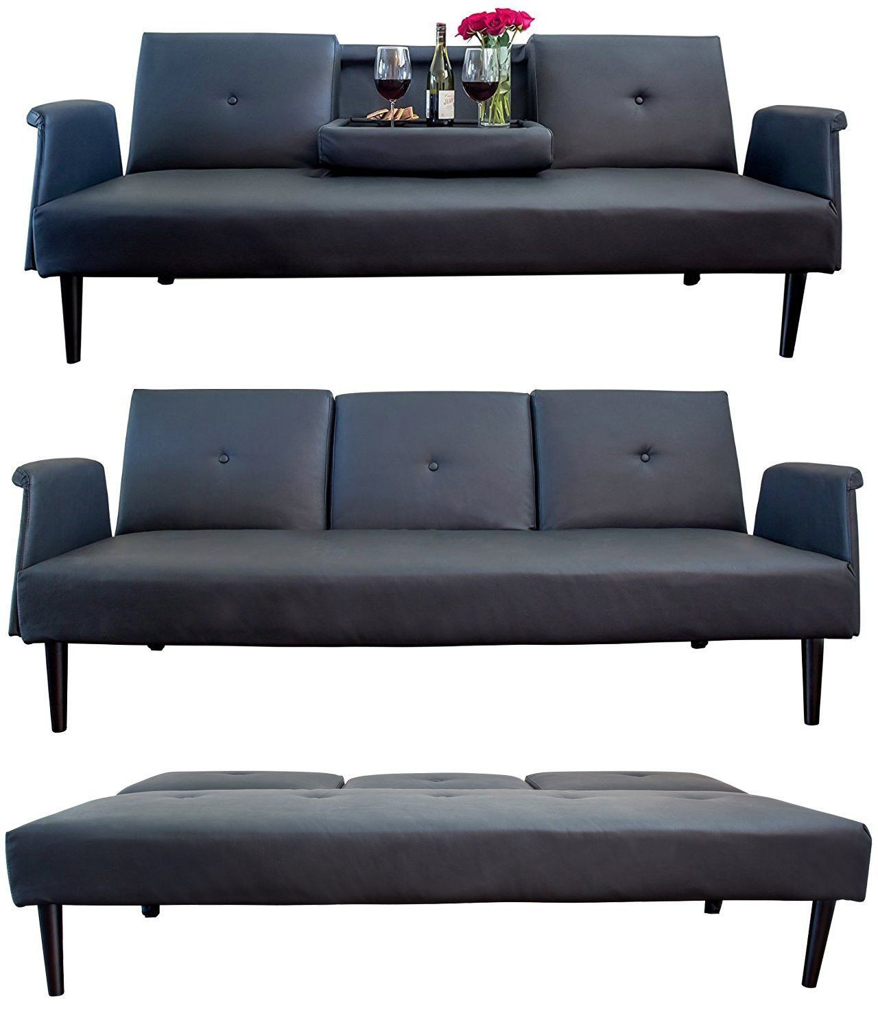 Leather Sofa Bed W Tray And Cup