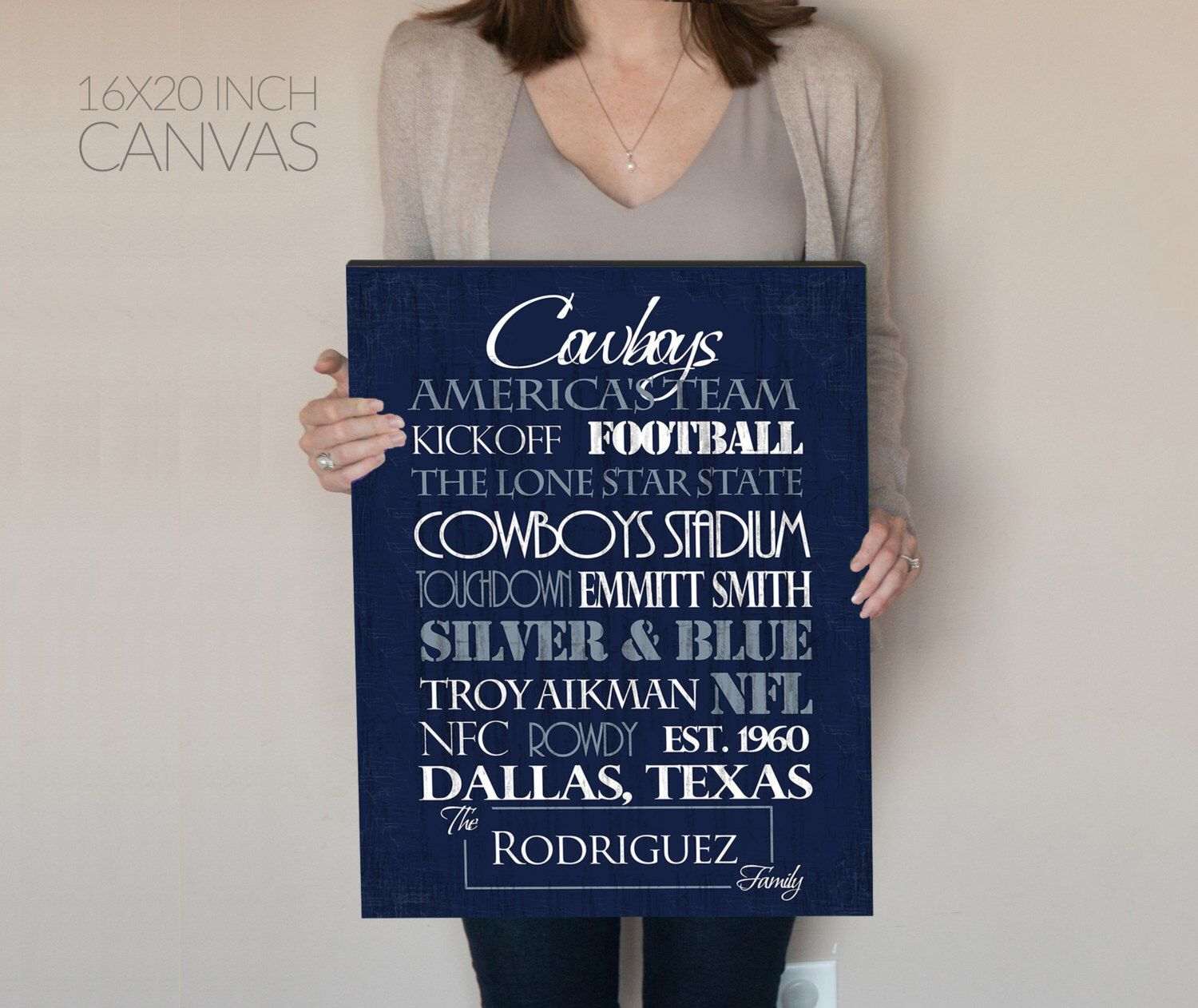 Dallas Cowboys Personalized Print Or Canvas Gift For