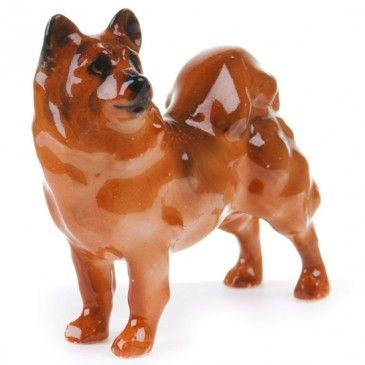Chow Shibu Ino Dog Sculpture Pottery Art Mans Best Friend
