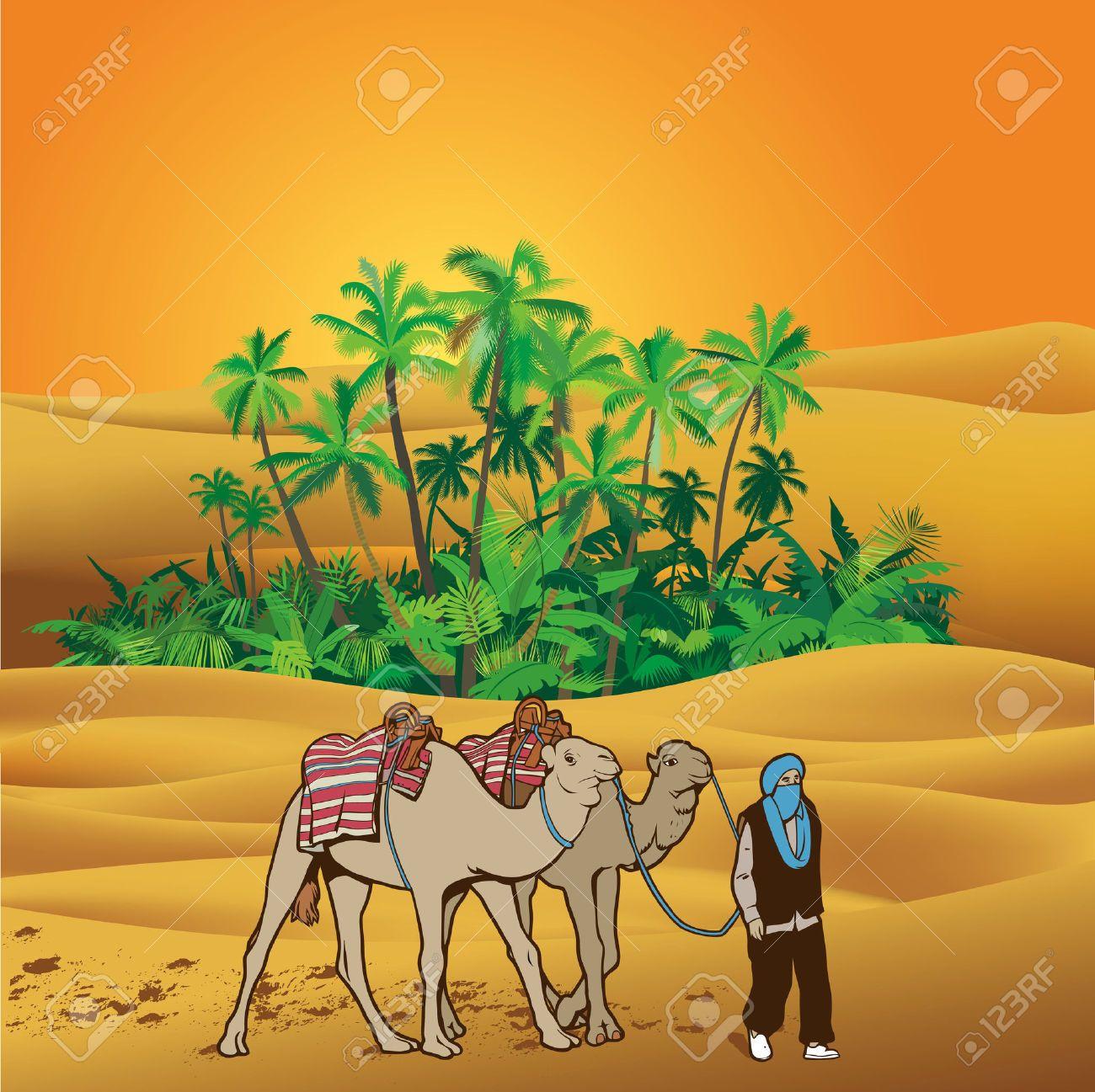 8198555 Desierto Ilustraci N De Sahara Foto De Archivo Jpg 1300 1297 Dibujos Desierto Oasis En El Desierto