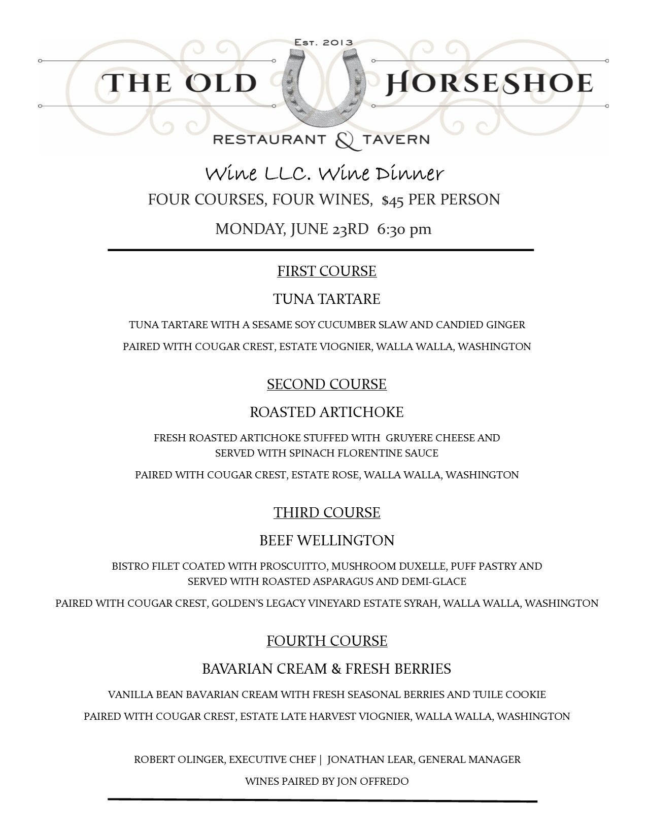 Our Second Monthly Wine Dinner Menu