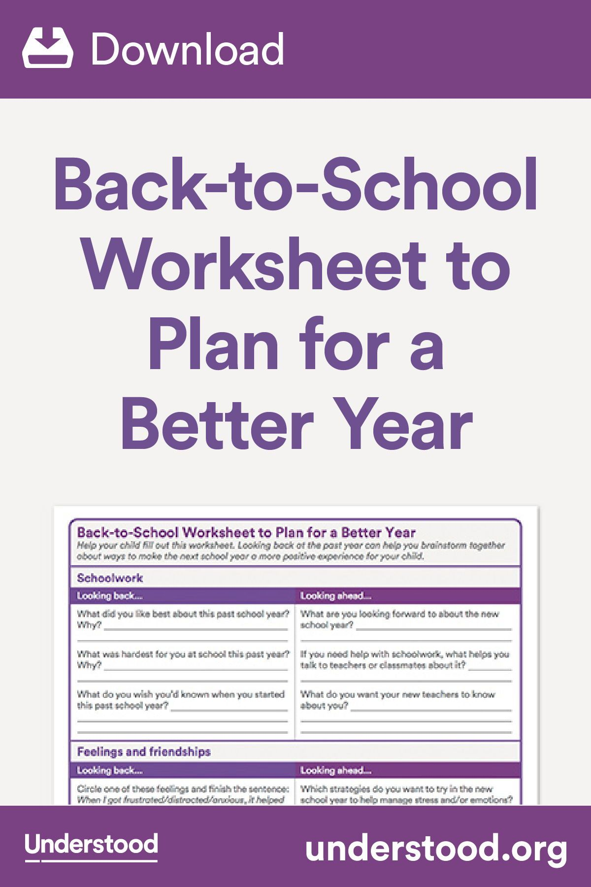 Download Back To School Worksheet To Plan For A Better