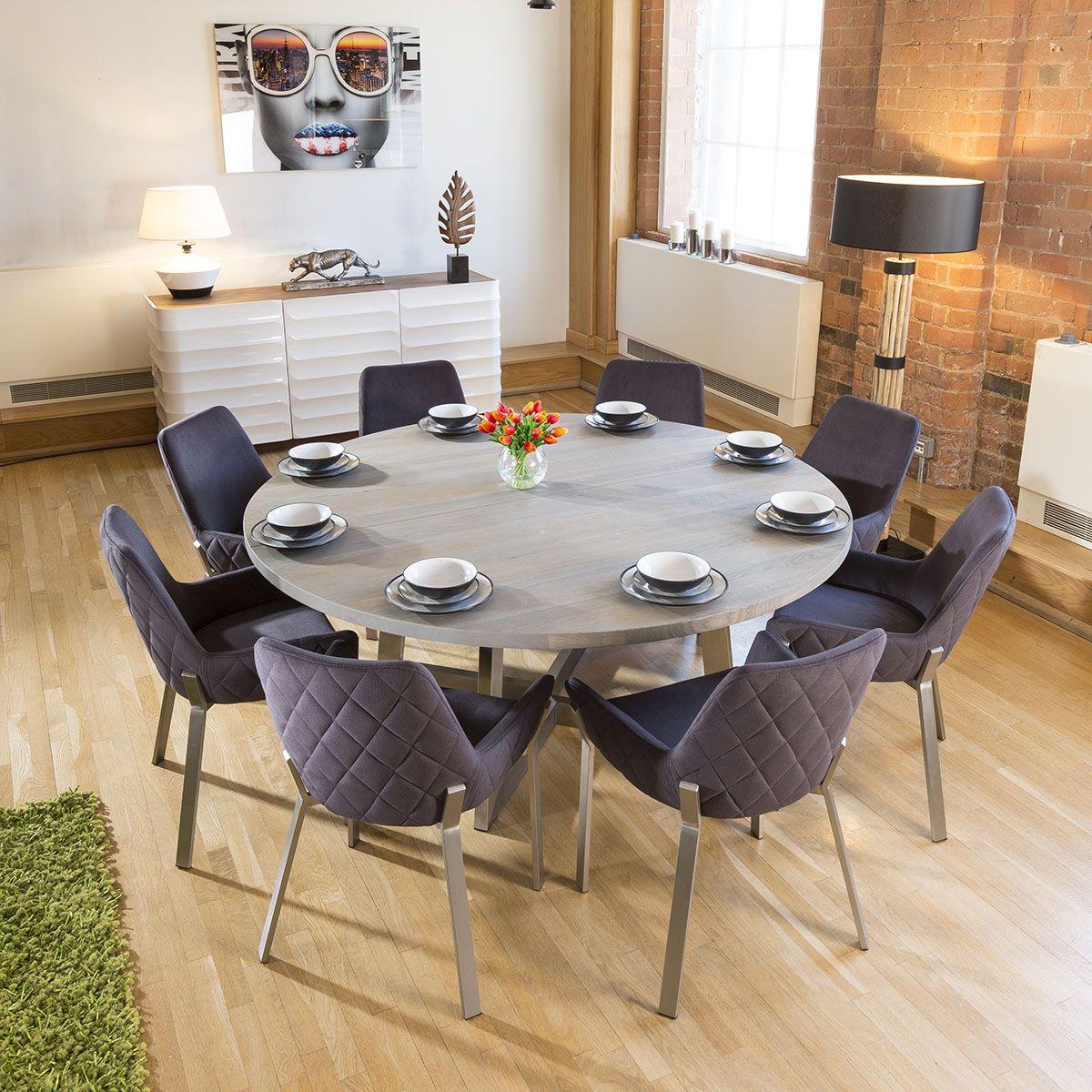 Massive Circular 1 8m Grey Oak Dining Table 8 Dark Grey Carver