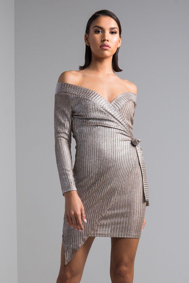 86e0bd5a1378 Front View Damian Off Shoulder Mini Dress in Mocha Silver Metallic Mini  Dresses, Long Sleeve