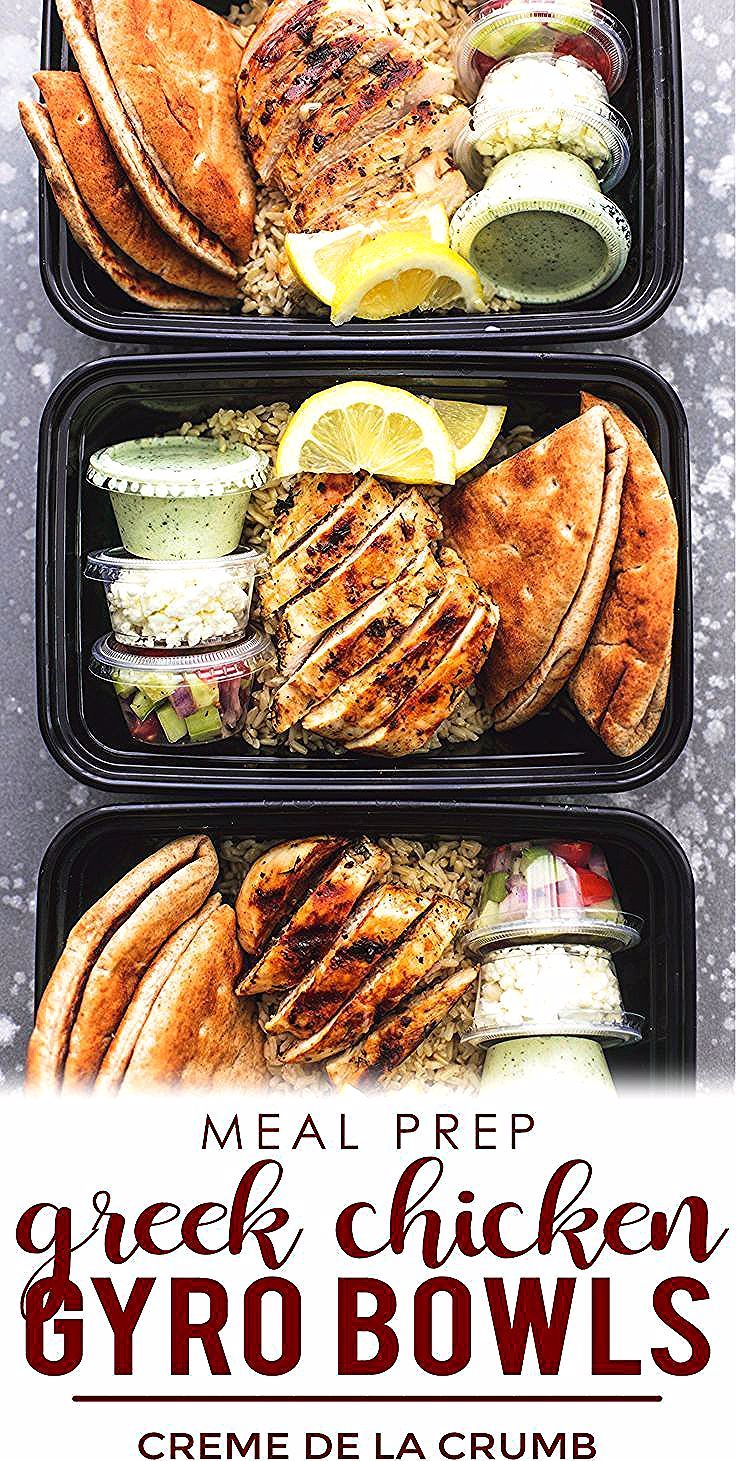 Easy and healthy Meal Prep for the week  for Beginners These Greek Chicken Gyr Easy and healthy Meal Prep for the week  for Beginners These Greek Chicken Gyro Bowls are d...