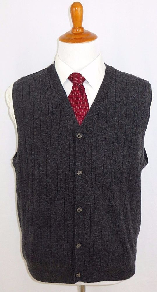 Mens Wool Sweater Vest Button Front Grey Club Room L New Charcoal