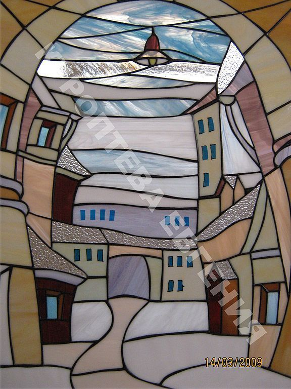 "Panel-stained ""Old Town"" Kuropteva Eugene. Stained glass windows, fusing"