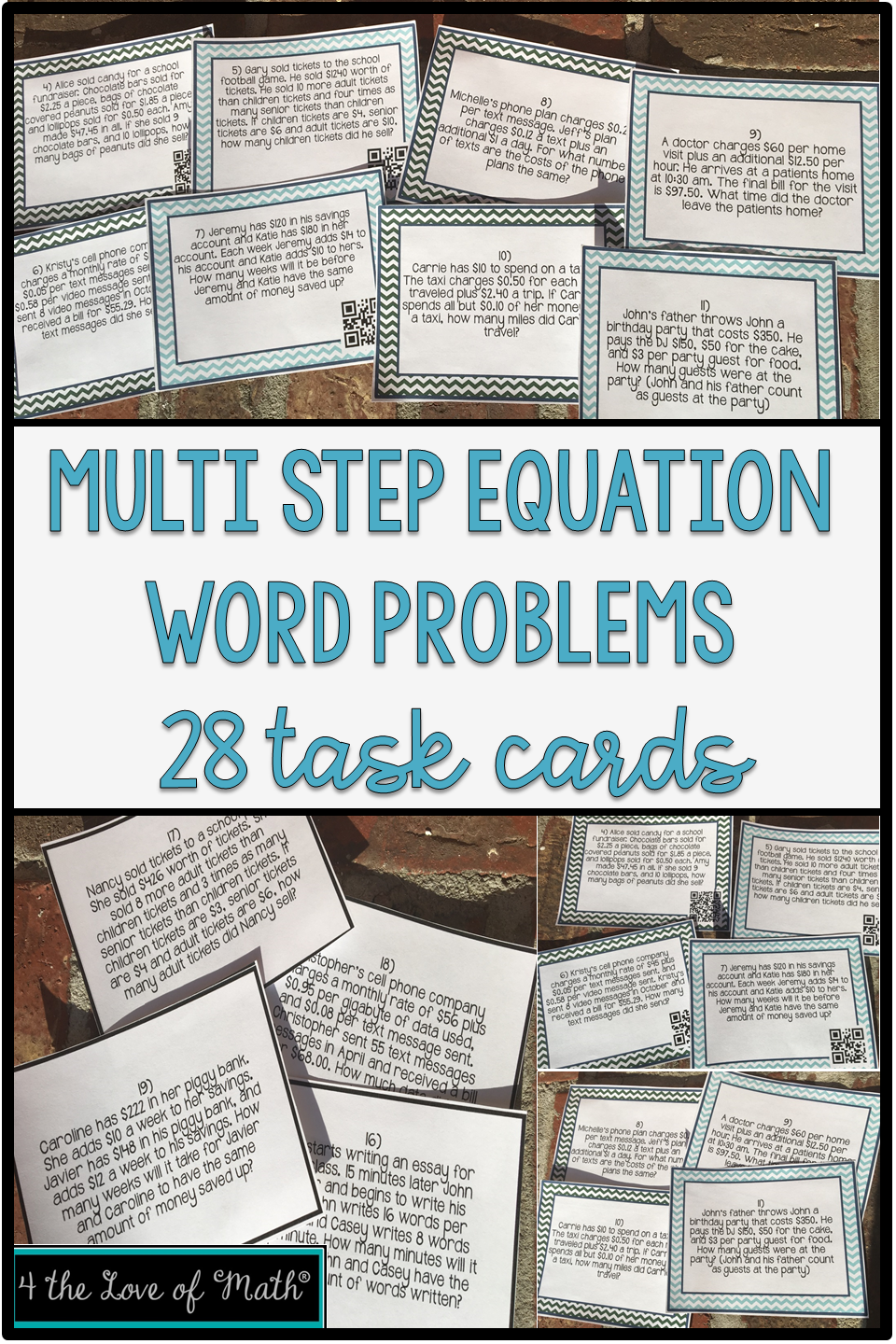 Multi Step Equation Word Problems: 28 Task Cards | Word problems ...